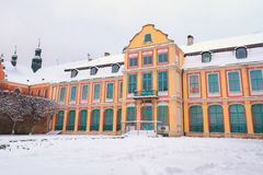 Winter scenery of Abbots' Palace in Oliwa Royalty Free Stock Photography
