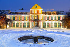 Winter scenery of Abbots Palace in snowy park. Of Gdansk, Poland Stock Photos
