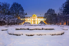 Winter scenery of Abbots Palace in snowy park. Of Gdansk, Poland Royalty Free Stock Images
