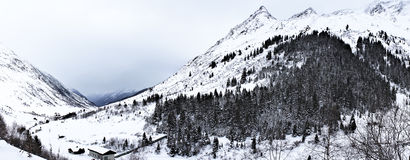 Winter scenery from Alps. A beautiful winter scenery from Austrian Alps (Galtür). The composition contains mountains and trees stock images
