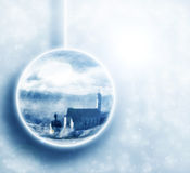 Winter scenery in christmas ball Royalty Free Stock Image