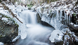 Winter scenery featuring a running creek of water. Water running through creek surrounded by winter ice crystals Royalty Free Stock Photo