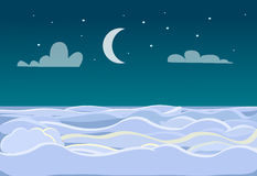 Winter Scenery of Field on Dark Night Background. Bright stars and moon are on sky. A lot of snow make an illusion of white waves at sea or ocean. Inhabited Royalty Free Stock Photos