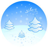 Winter scenery with fir trees. Illustration Stock Images