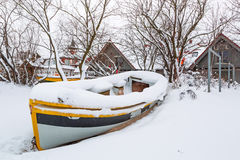 Winter scenery of fishing boats at Baltic Sea Stock Photos