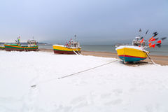 Winter scenery of fishing boats at Baltic Sea Stock Image