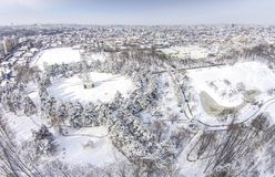 Recreational park in winter, Ploiesti , Romania Royalty Free Stock Images