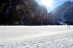 Winter scenery of frozen lake Braies at Dolomites alps Italy Royalty Free Stock Photography