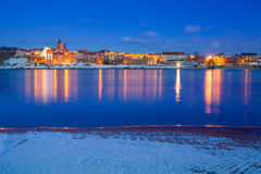 Winter scenery of Grudziadz at Vistula river Stock Photos