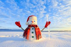 Winter scenery. Happy snowman in hat, red gloves and scarf on the background of mountains, blue sky. Field covered with snow. stock image