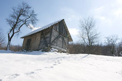 Winter scenery hut Stock Image