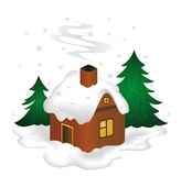 Winter scenery. Illustration of winter scenery with snow-covered house Royalty Free Stock Photography