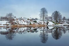 Winter scenery at the lake. In Olofstrom, Sweden Royalty Free Stock Image