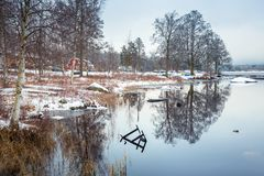 Winter scenery at the lake in Sweden. Winter scenery at the lake in Olofstrom, Sweden Stock Photos