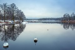 Winter scenery at the lake. In Olofstrom, Sweden Stock Image