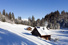 Winter scenery with log cabin stock image