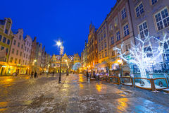 Winter scenery of the Long Lane street in Gdansk Royalty Free Stock Images