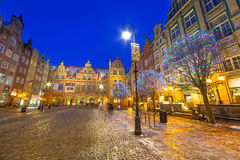 Winter scenery of the Long Lane street in Gdansk Royalty Free Stock Photography