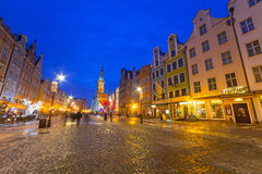 Winter scenery of the Long Lane street in Gdansk Stock Photography