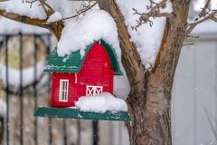 Winter scenery with miniature house on a tree. Close up view of a miniature house hanging on a tree on a snowy day. Winter scenery with festive and colorful stock image