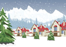 Winter scenery with mountain ski resort vector illustration