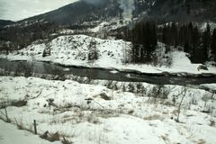 View of river in winter between Oslo and Bergen stock photos