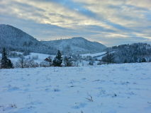 Winter scenery. Panoramic view at mountains Royalty Free Stock Photography