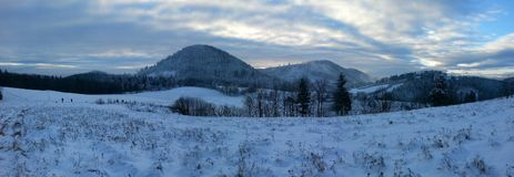 Winter scenery. Panoramic view at snowy mountains Stock Photography