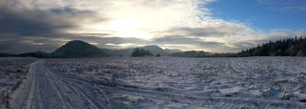 Winter scenery. Panoramic view at snowy mountains Royalty Free Stock Photos