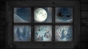 Winter scenery seen through window