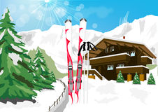 Winter scenery with snow, skis, ski poles, chalet and mountains Royalty Free Stock Image