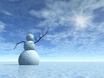 Winter scenery with snowman Stock Images