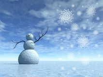 Winter scenery with snowman Royalty Free Stock Photo