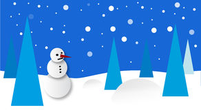 Winter scenery with snowman Royalty Free Stock Images