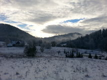 Winter scenery. Snowy panoramic view Royalty Free Stock Image