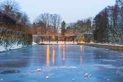 Winter scenery of snowy park in Gdansk. Poland Royalty Free Stock Photo