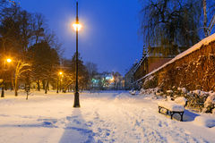 Winter scenery of snowy park in Gdansk. Poland Royalty Free Stock Images