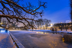 Winter scenery in snowy park of Gdansk. Poland Royalty Free Stock Images