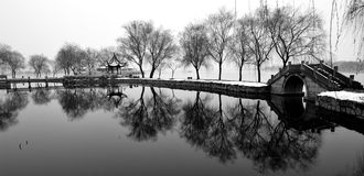 Winter scenery of Suzhou. Suzhou snow scenery, in a town or city and garden and Temple Stock Photography
