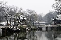Winter scenery of Suzhou. Suzhou snow scenery, in a town or city and garden and Temple Royalty Free Stock Images