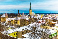 Winter scenery of Tallinn, Estonia Stock Images