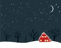 Winter scenery with tiny red house naked trees and moon. Christmas card design. Winter scenery with tiny red house naked trees and moon. Christmas card design Royalty Free Stock Photo
