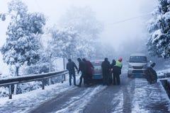 Winter Scenery: Track Slip Car Royalty Free Stock Photo