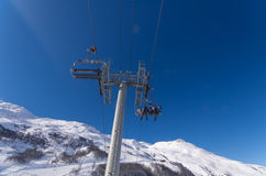 Winter scenery in Val Thorens, France Royalty Free Stock Images