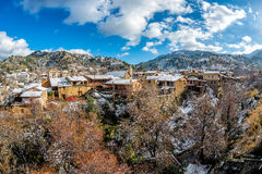 Winter scenery in village of Kakopetria. Nicosia District, Cypru Stock Image