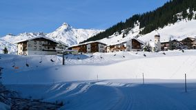Zug, Voralberg, Austria. Winter scenery in village Zug in Zugertal valley in Voralberg - Austria Royalty Free Stock Image