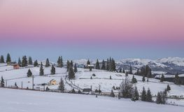 Winter scenery. Wide view from Tihuta Pass with the peaks of Rodnei Mountains in the background Stock Images