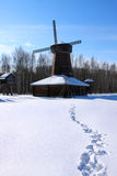 Winter scenery with windmill Stock Photo