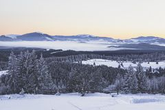 Winter scenery. And low fog below Ousorul, Giumalau and Bistritei Mountains Stock Photos