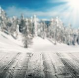 Winter scenery with wooden planks Royalty Free Stock Photo